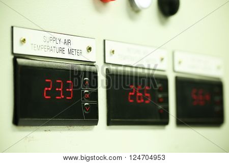 Close up of an Electric meter,Electric utility meters for an apartment complex or offshore oil and gas plant, Electronic display for monitoring oil and gas production process,