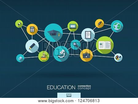 Education network. Growth abstract background with lines, circles and integrate flat icons. Connected symbols for elearning, knowledge, learn and global concepts. Vector interactive illustration
