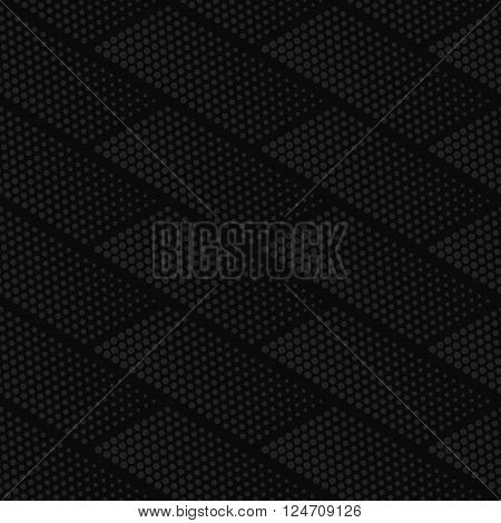 Vector dark gray geometric halftone seamless pattern. Retro pointillism vector seamless background. Vector old school design. Vector dark dotted texture