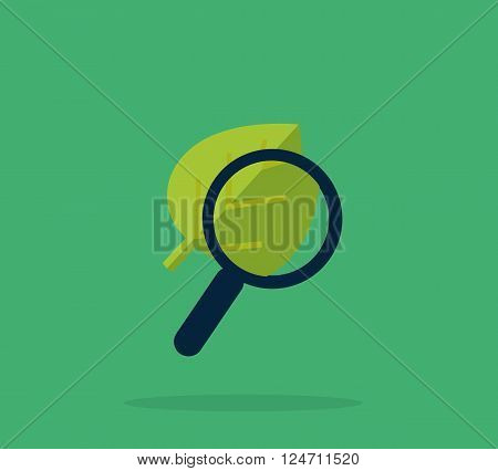 Magnifying glass and leaf, education concept. Scientific biology, study nature leaf, search with magnifying glass,  zoom glass magnifier, look with glass optical, education organic leaf illustration
