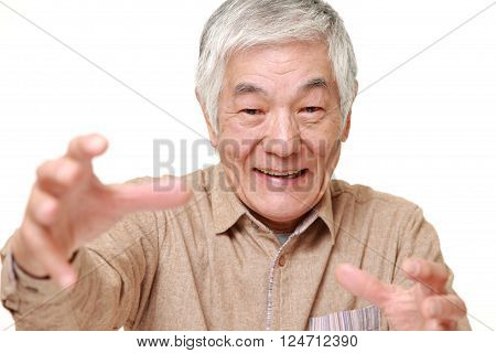 portrait of senior Japanese man with supernatural power