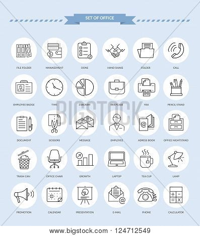 Set of thin, lines, outline office items icons. Office icons, business icon set, office business icons, web icon set, business and finance, office and business. Interface vector icon