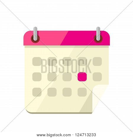 Calendar app icon flat style design. Calendar icon page, monthly calendar, date and time, web organizer application, button organize today vector illustration