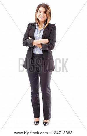 Cute Salesperson With Arms Crossed