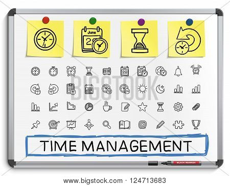 Time management hand drawing line icons. Vector doodle pictogram set. sketch sign illustration on white marker board with paper stickers. schedule, alarm, event, calendar, graphic, plan, date, bell. poster
