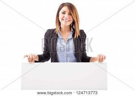 Happy Salesperson Holding A Sign