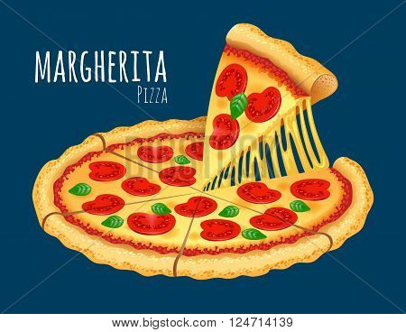 A vector illustration of a cooked Margherita Pizza
