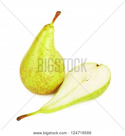 fresh conference pears, isolated on white background