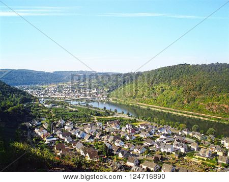 Landscape of Mosel river with a village. Germany