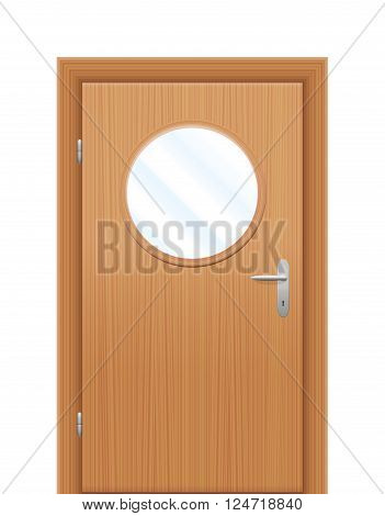 Door with circular viewing window. Isolated vector illustration over white background.