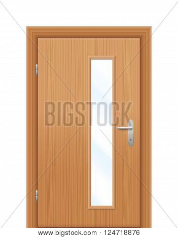 Vision panel - vertical oblong window in wooden door. Isolated vector illustration on white background.
