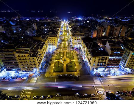 Aerial View Of Aristotelous Square And The City Of Thessaloniki The Night, Greece