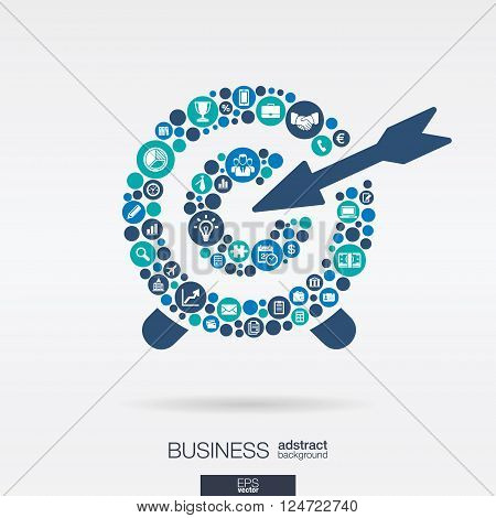 Color circles, flat icons in a target shape, business, marketing research, strategy, mission, analytics concepts. Abstract background with connected objects. Vector interactive illustration.