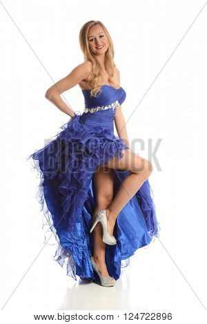 Young woman wearing a blue gown isolated on a white background