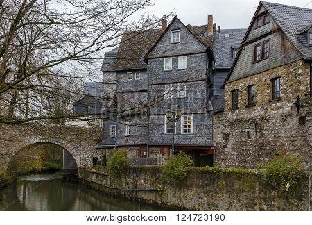 historic houses on the Lahn river bank in Wetzlar, Germanyv