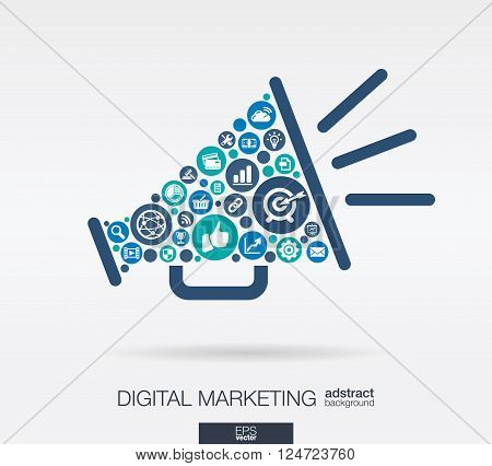 Color circles, flat icons in a speaker shape, digital marketing, social media, network, computer concept