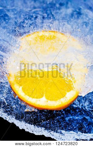 orange in ice