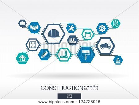 Construction network. Hexagon abstract background with lines, polygons, and integrated flat icons.