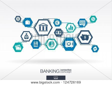 Banking abstract background with lines, hexagons and integrated flat icons. Connected symbols for money, bank, business and  finance concepts. Vector illustration