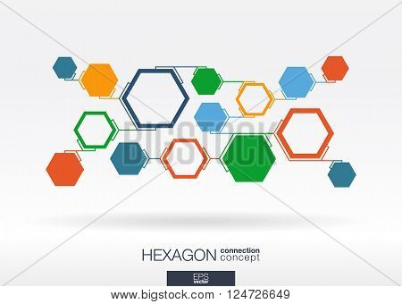 Abstract hexagon background with line integrated polygons. Vector interactive illustration. poster