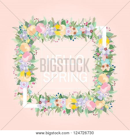 Floral frame with text place. Design for creating card, invitation card for wedding,birthday, etc.Vector illustration