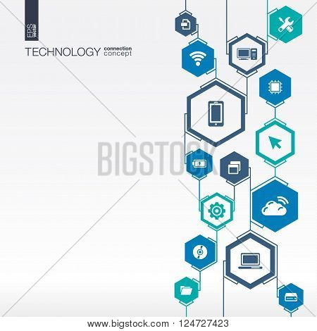 Technology network. Hexagon abstract background with lines, integrate flat icons. Connected symbols for digital, connect, communicate, social media and global concepts. Vector interactive illustration poster