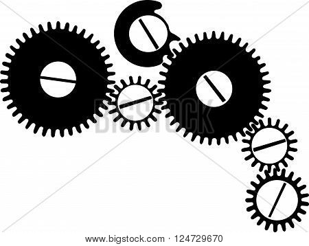 gear mechanism vector drawing on white background