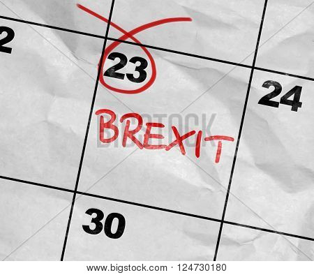 Concept image of a Calendar with the text: Brexit