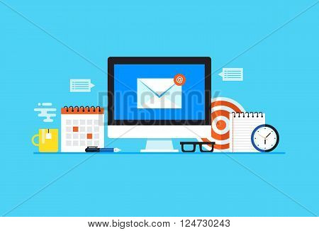 Email, Newsletter, E-mail marketing. Flat design modern vector illustration concept. poster