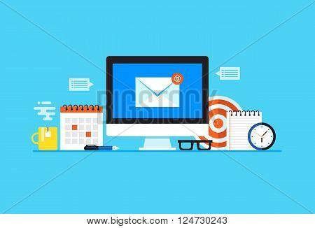 Email, Newsletter, E-mail marketing. Flat design modern vector illustration concept.