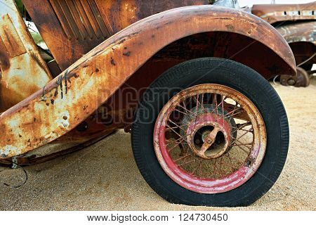 SOLITAIRE NAMIBIA - JAN 30 2016: Detail of abandoned old Morris Eight car at the service station at Solitaire in the Namib Desert Namibia. Popular touristic destination