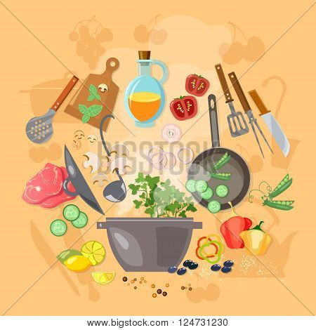 Creative cooking ingredients kitchenware set vector illustration