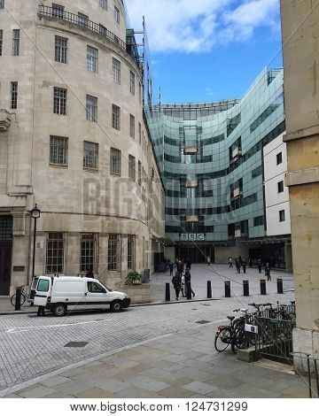 LONDON - APRIL 6: The Headquarters of the BBC at New Broadcasting House, Portland Place on April 6, 2016 in Central London, UK.