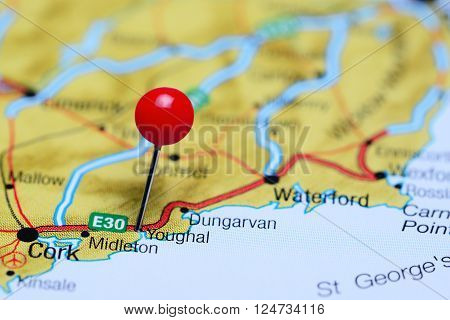 Youghal pinned on a map of Ireland ** Note: Shallow depth of field