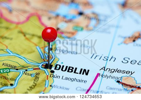 Dublin pinned on a map of Ireland ** Note: Shallow depth of field