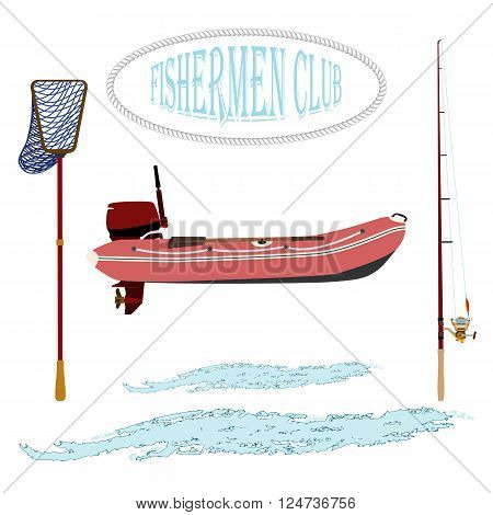 rubber boat. landing net and spinning near baubles, and hooks. vector illustration .