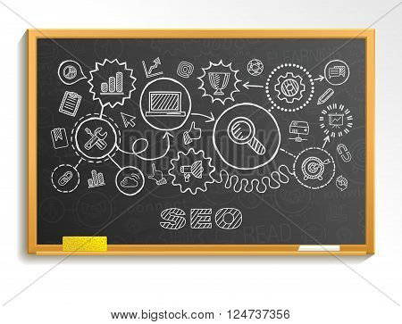 SEO hand draw integrated icons set on school board. Vector sketch infographic illustration. Connected doodle pictograms, marketing, network, analytic, technology, optimize, service interactive concept