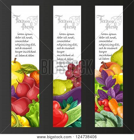 Vertical Banners With Fresh Fruits And Vegetables On A Black Background