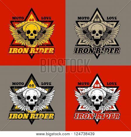 Skull biker. Iron Rider. Print for T-shirts and apparel. Rock design