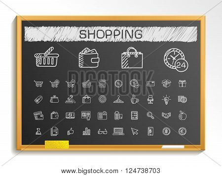 Shopping hand drawing line icons. Vector doodle pictogram set. chalk sketch sign illustration on blackboard with hatch symbols, credit, purchase, service, card, calculator, internet, bank, terminal