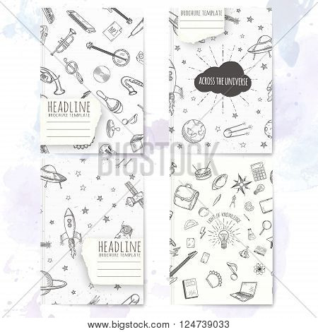 Notebook template with hand drawn education doodles. Vector editable notebook cover.