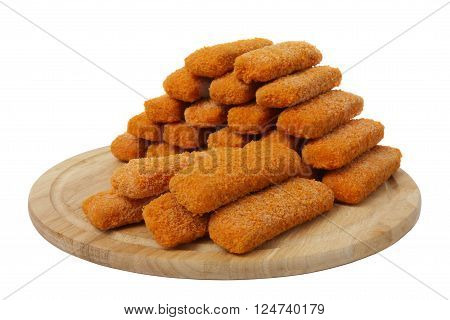 Fish sticks on wooden board, isolated on white background