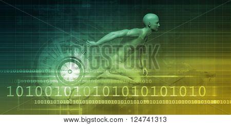 Man Machine Equilibrium as a Science Technology Concept 3D Illustration