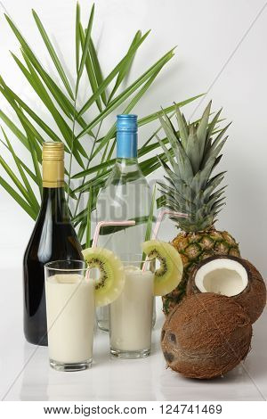 Pina colada alcohol cocktail and its ingredients