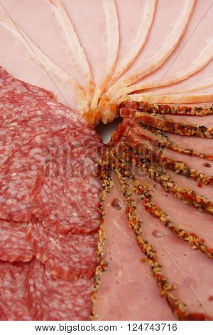 Slices of salami ham and beef close-up