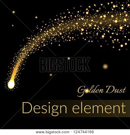 Golden sparkling falling star. Gold dust trail. Cosmic glittering wave in black background. Abstract design template. Lights glitter sparkles. Fashion stylish retro style. Stock Vector illustration