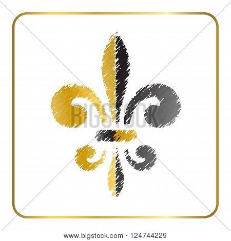 Golden fleur-de-lis heraldic emblem. Gold and gray grunge sign isolated on white background. Design lily insignia element. French fleur de lis royal lily. Elegant decoration symbol Vector Illustration