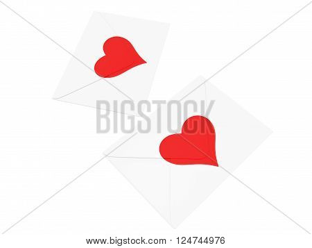 White envelope with red heart stamp isolated on white background.