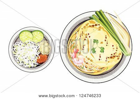 Thai Cuisine Pad Thai or Thai Stir Fried Noodles Wrapped with Omelet. One of The Most Popular Dish in Thailand.