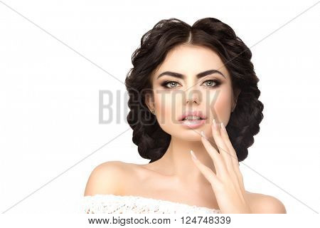 Model with long hairstyle, braids of hair. Hair Salon. Updo. Fashion model with shiny hair. Woman with healthy hair girl with luxurious haircut. Girl with hair volume. Manicure with nail polish